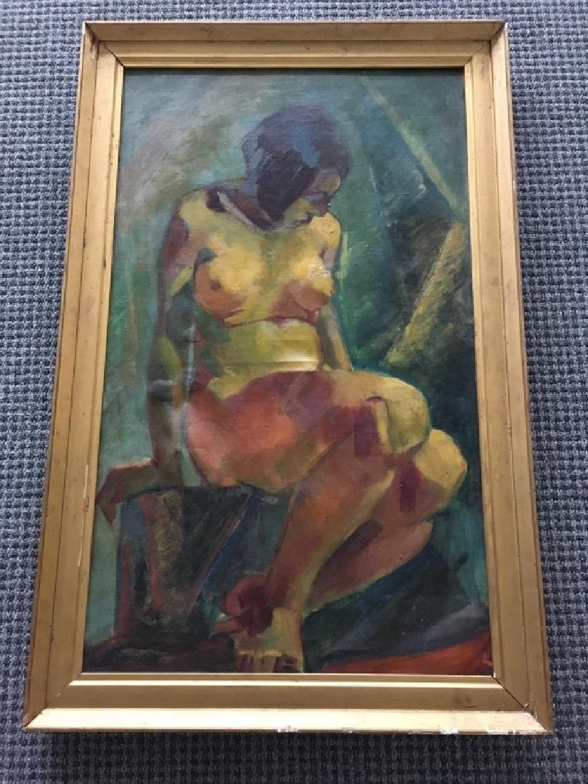 FRAMED OIL ON CANVAS OF NUDE FEMALE