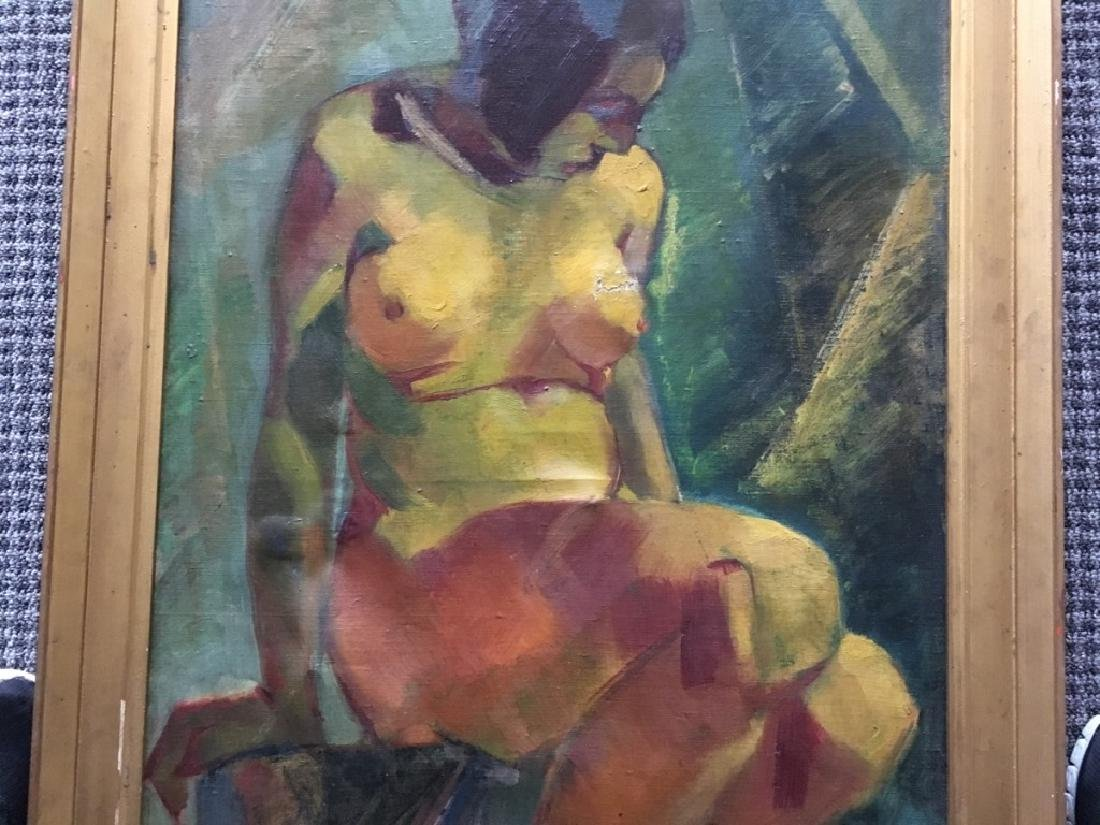 FRAMED OIL ON CANVAS OF NUDE FEMALE - 3