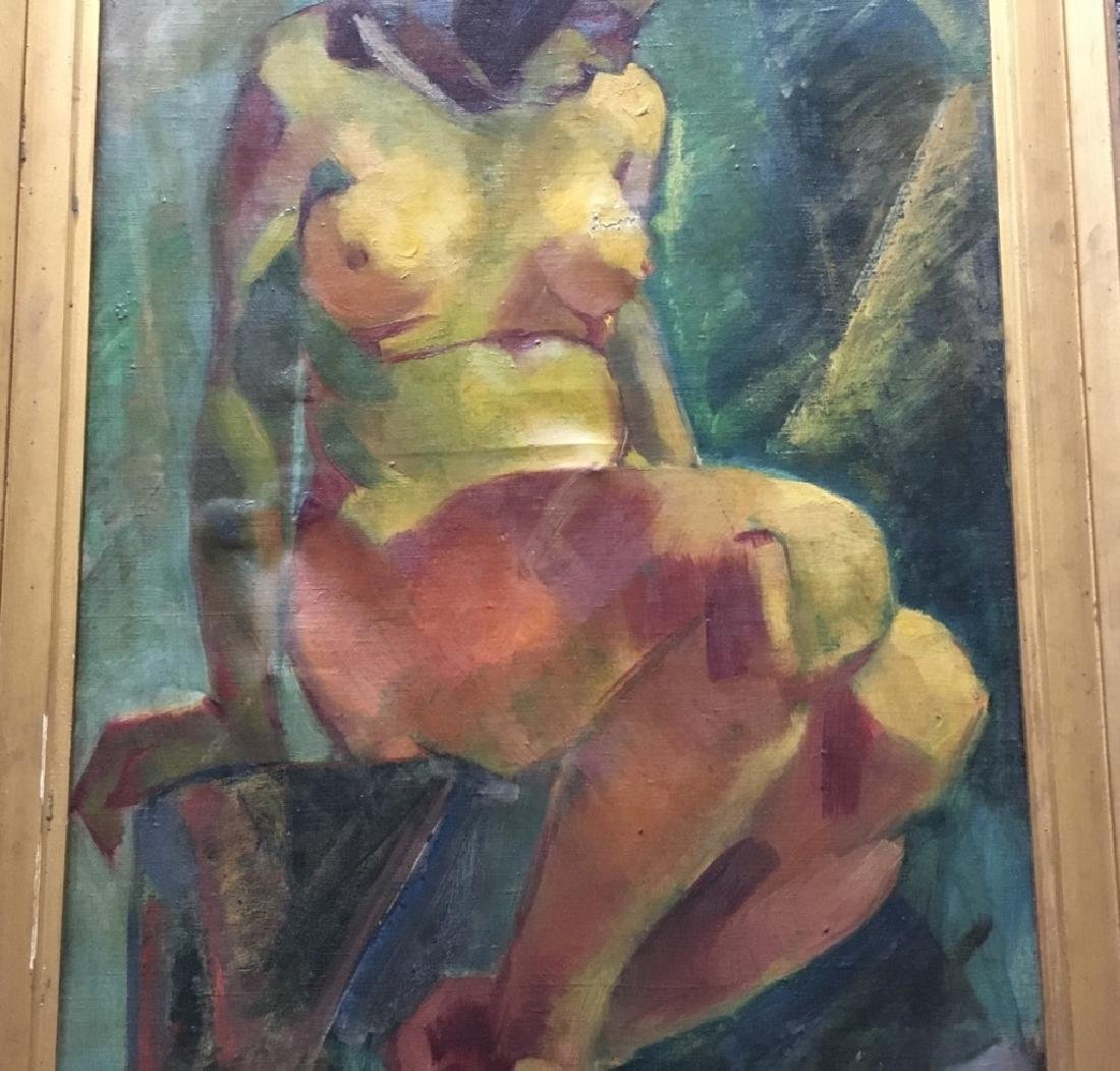 FRAMED OIL ON CANVAS OF NUDE FEMALE - 4