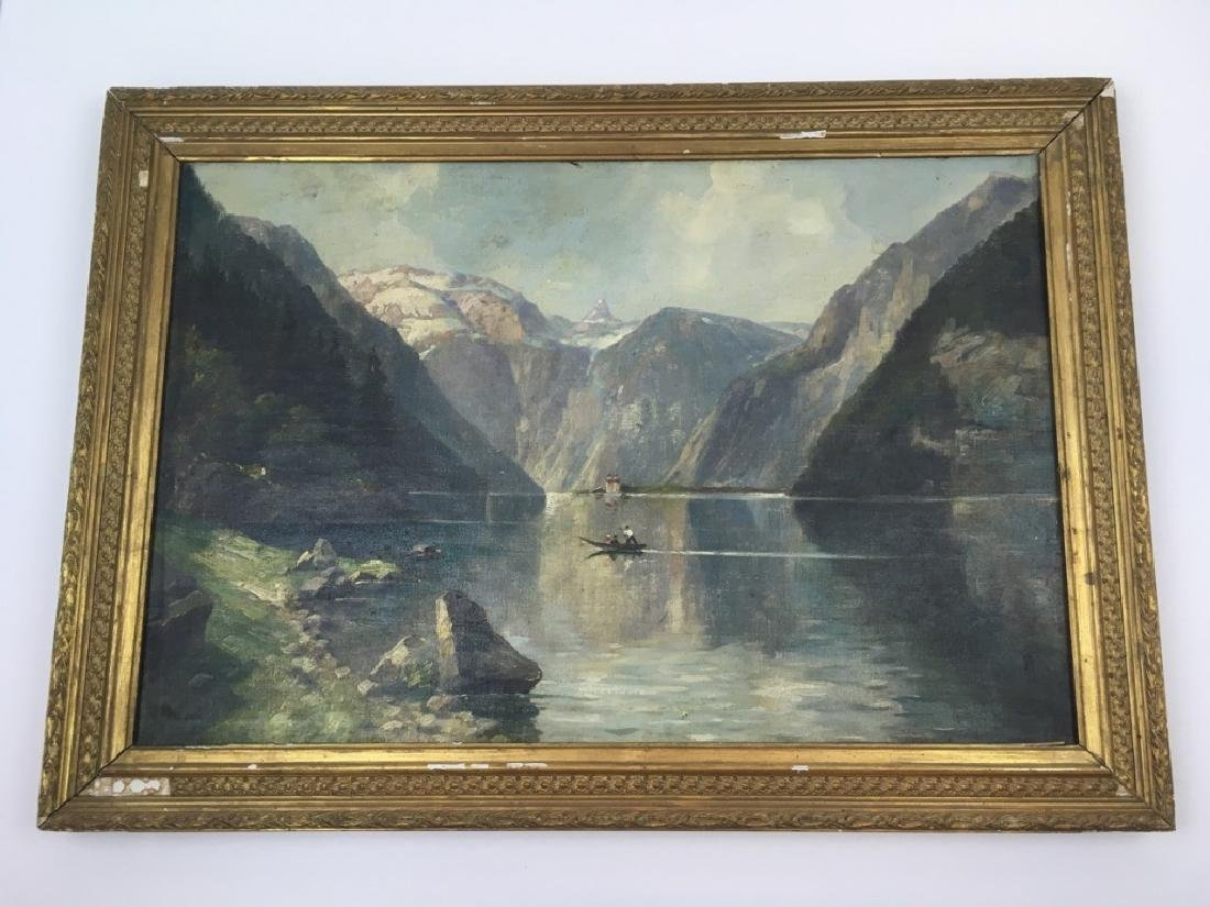 FRAMED OIL ON CANVAS OF GONDOLIER & MOUNTAINS - 2