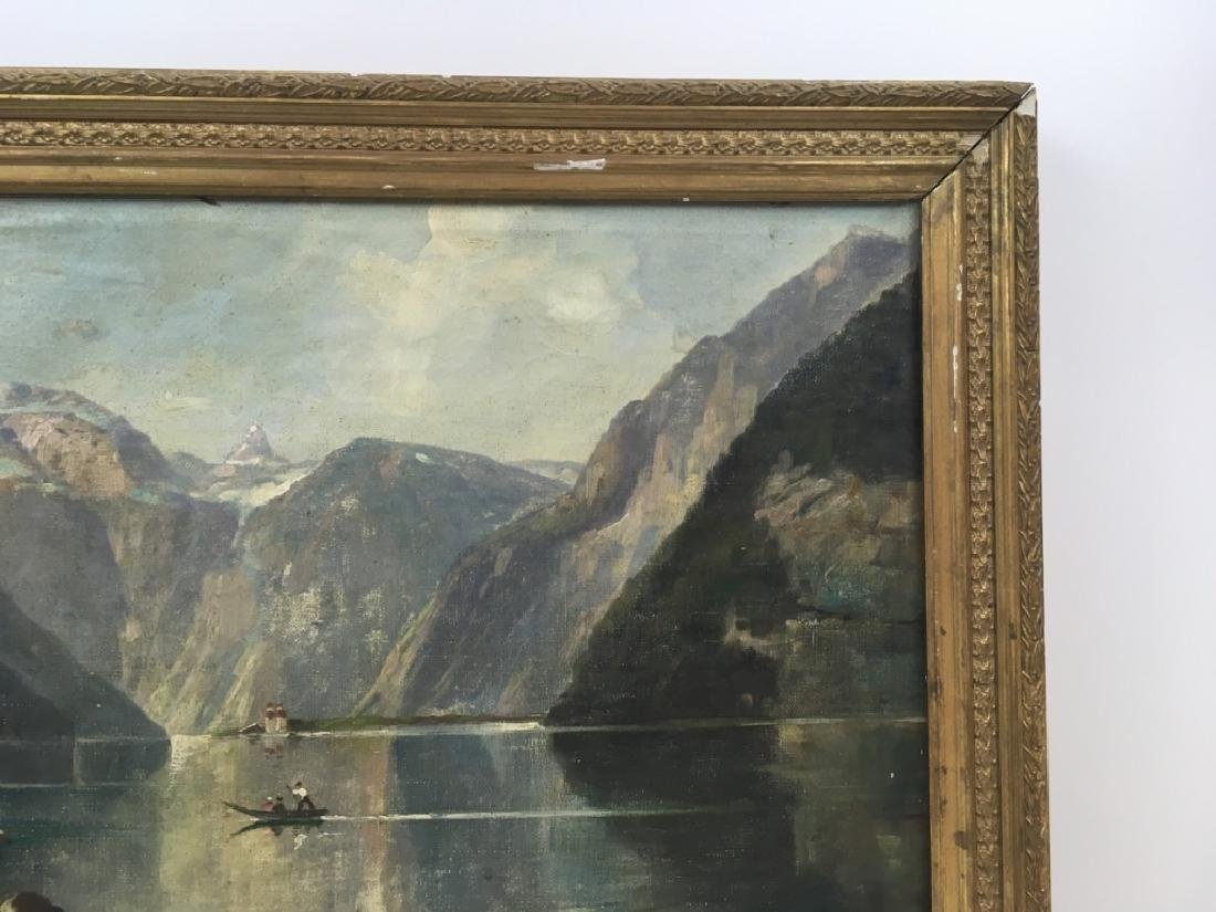 FRAMED OIL ON CANVAS OF GONDOLIER & MOUNTAINS - 3