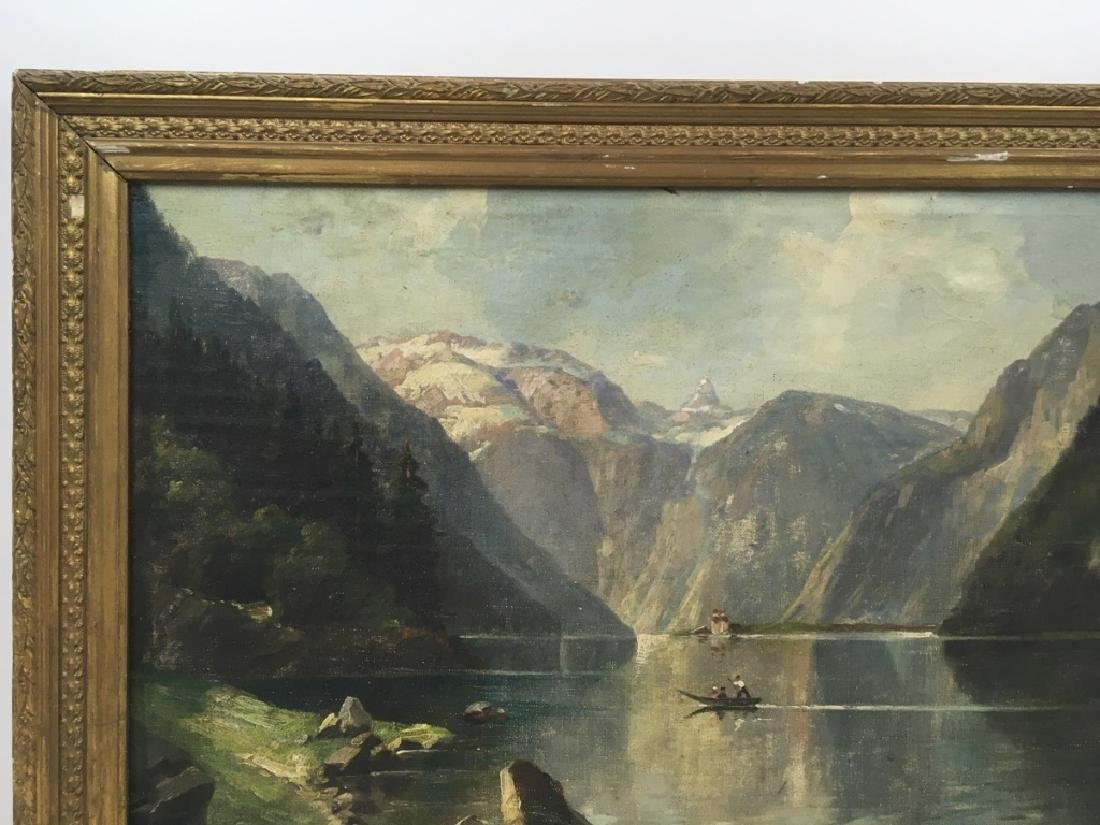 FRAMED OIL ON CANVAS OF GONDOLIER & MOUNTAINS - 4