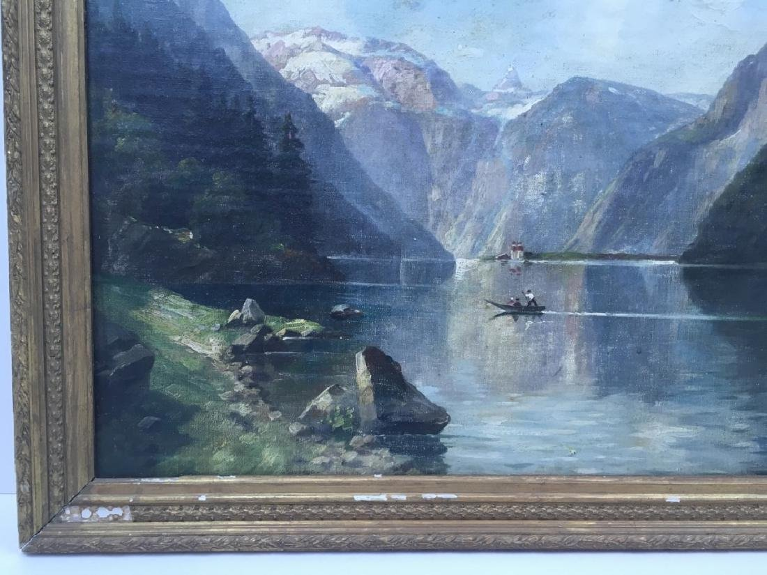 FRAMED OIL ON CANVAS OF GONDOLIER & MOUNTAINS - 5