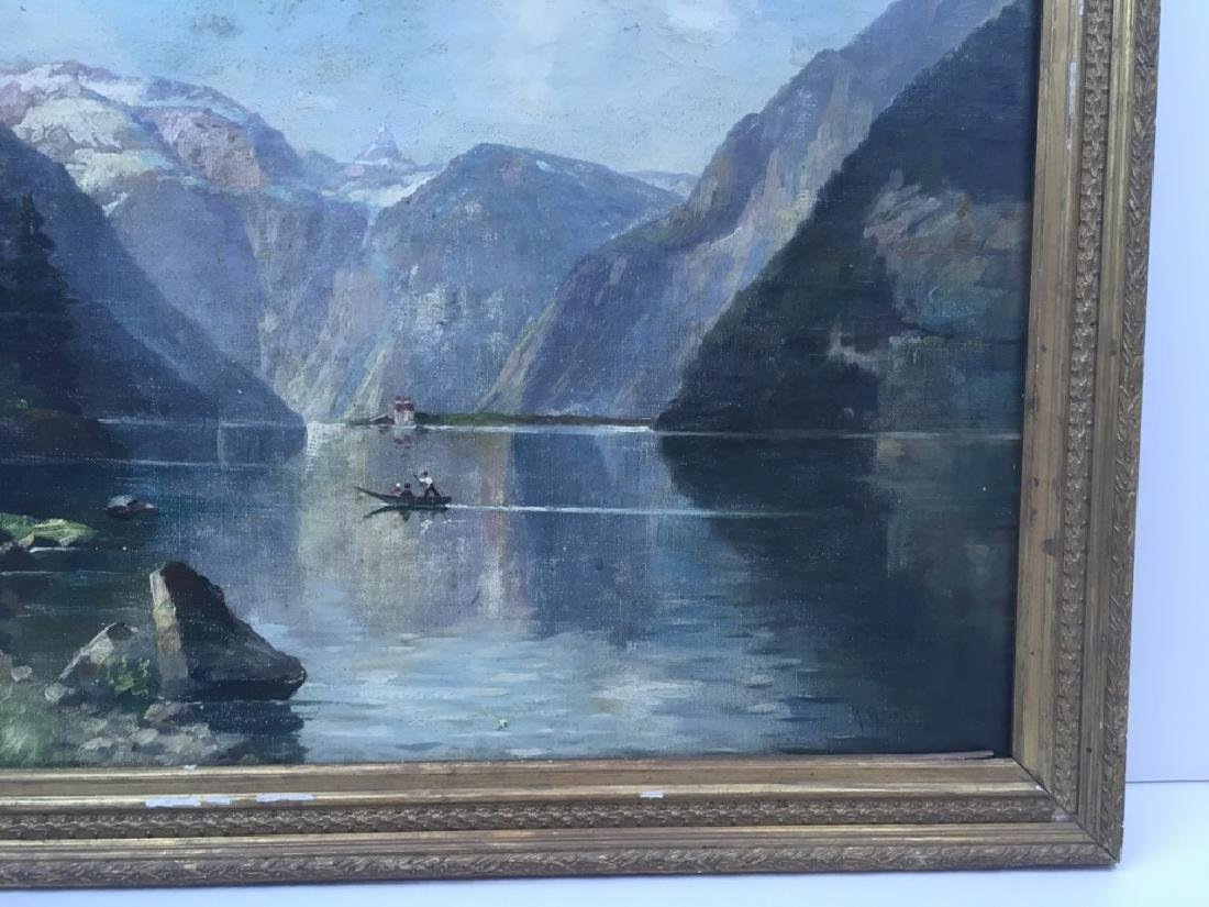 FRAMED OIL ON CANVAS OF GONDOLIER & MOUNTAINS - 6