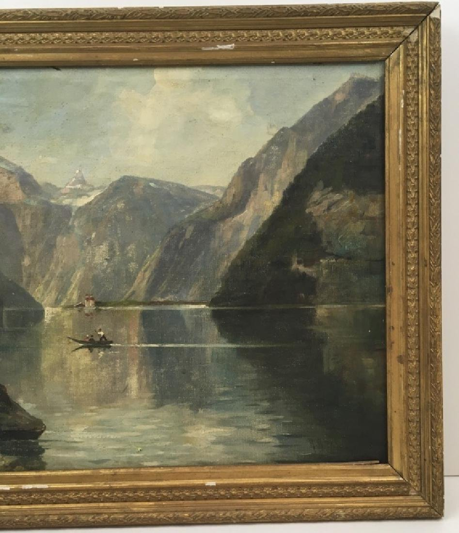 FRAMED OIL ON CANVAS OF GONDOLIER & MOUNTAINS - 7