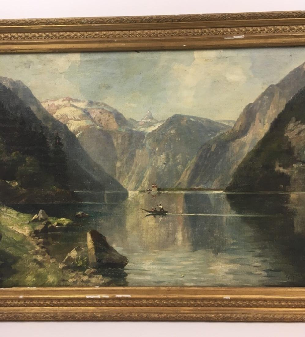 FRAMED OIL ON CANVAS OF GONDOLIER & MOUNTAINS - 8