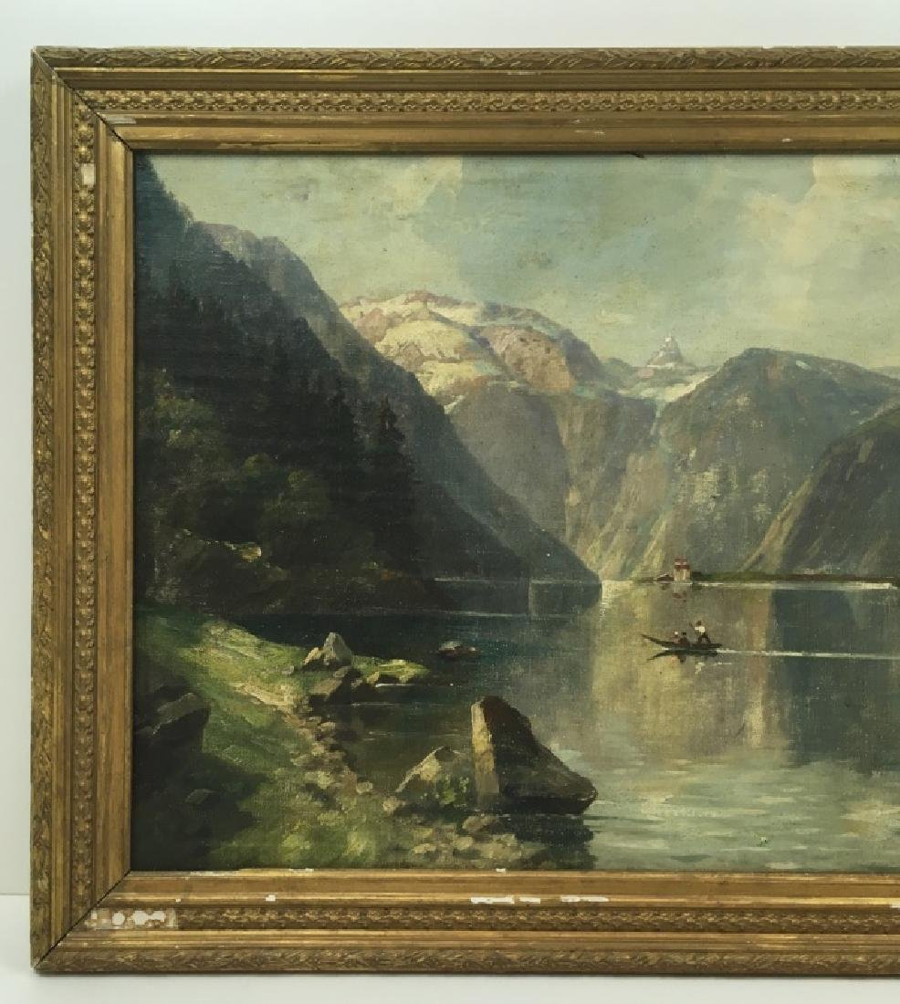 FRAMED OIL ON CANVAS OF GONDOLIER & MOUNTAINS - 9