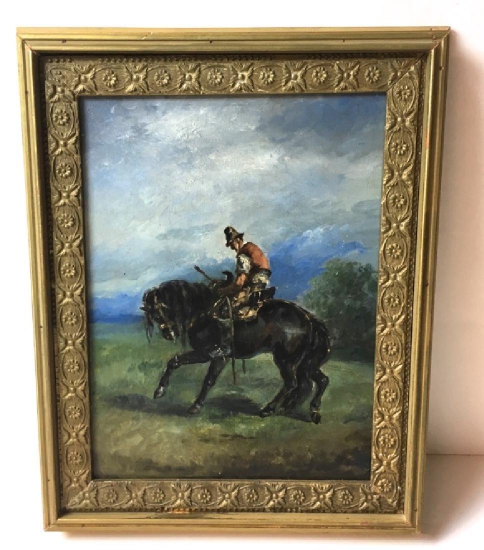 FRAMED OIL ON WOOD - MALE ON HORSE