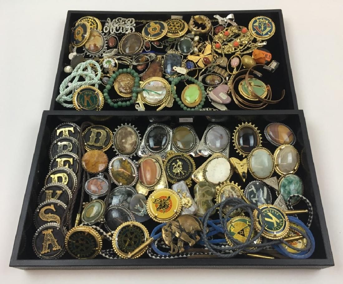 2 TRAY LOTS OF COSTUME JEWELRY & BOLO TIE PCS