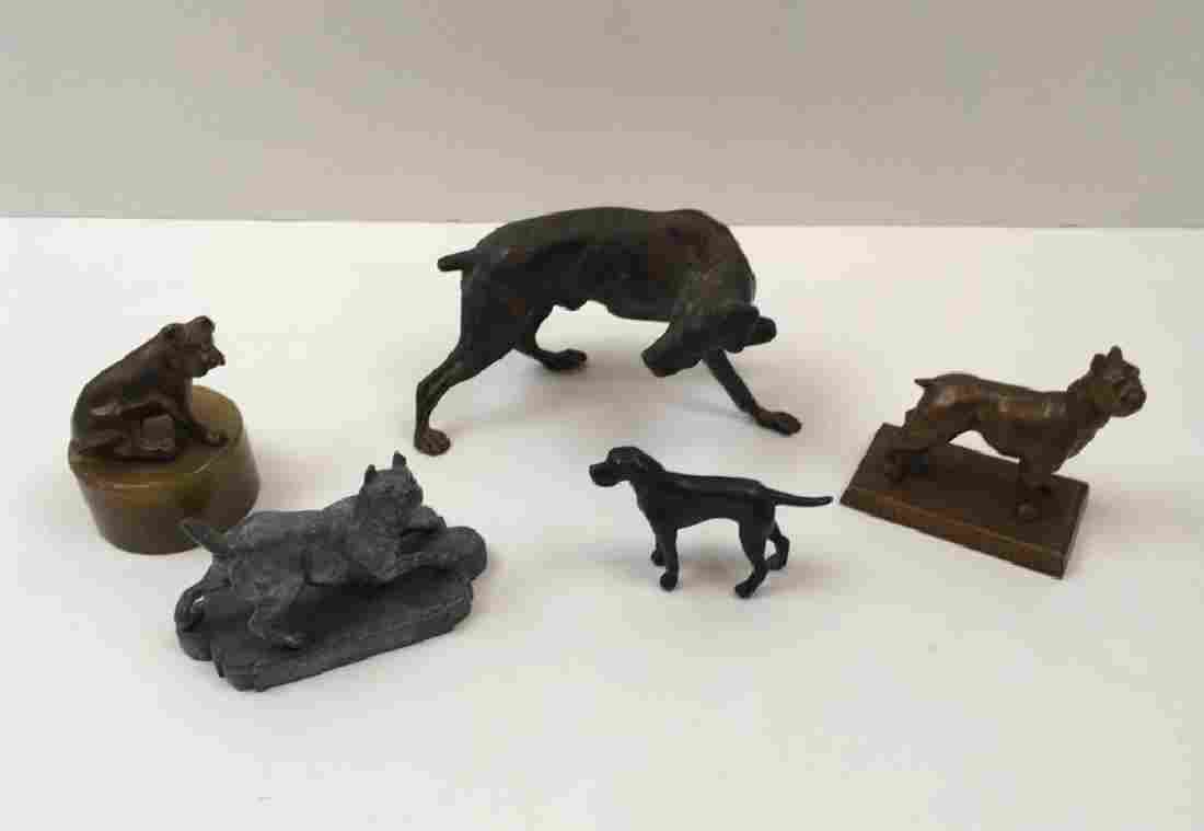 5 VINTAGE CAST METAL DOG FIGURES