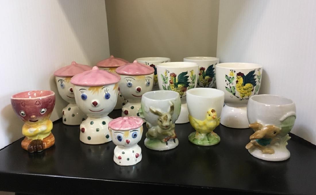 13 VINTAGE EGG CUPS