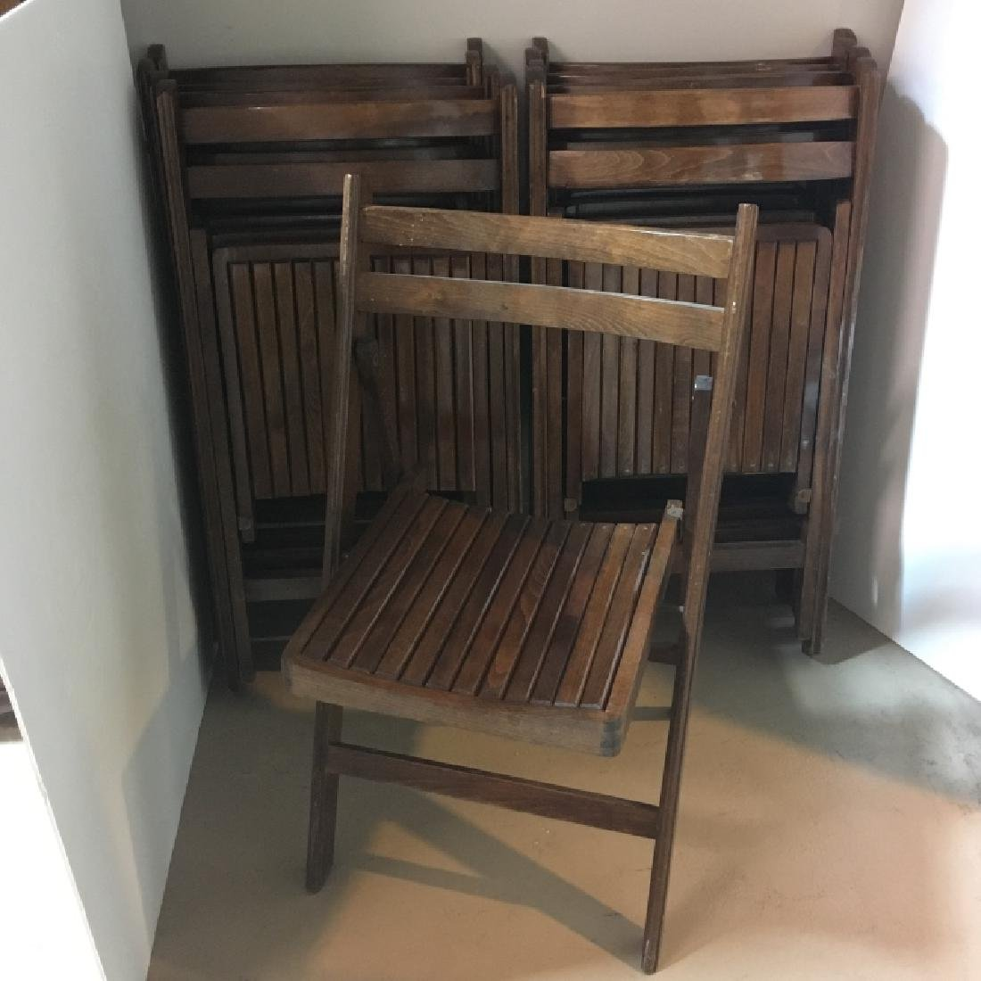 9 Vintage Wooden Folding Chairs