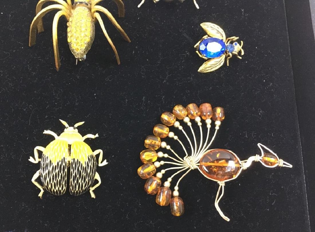 5 VINTAGE COSTUME & TESTED 10K JEWELRY PINS - 3