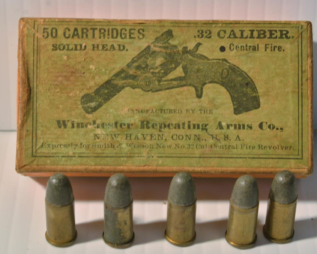 OLD WINCHESTER REPEATING ARMS .32 CALIBER BOX - 2