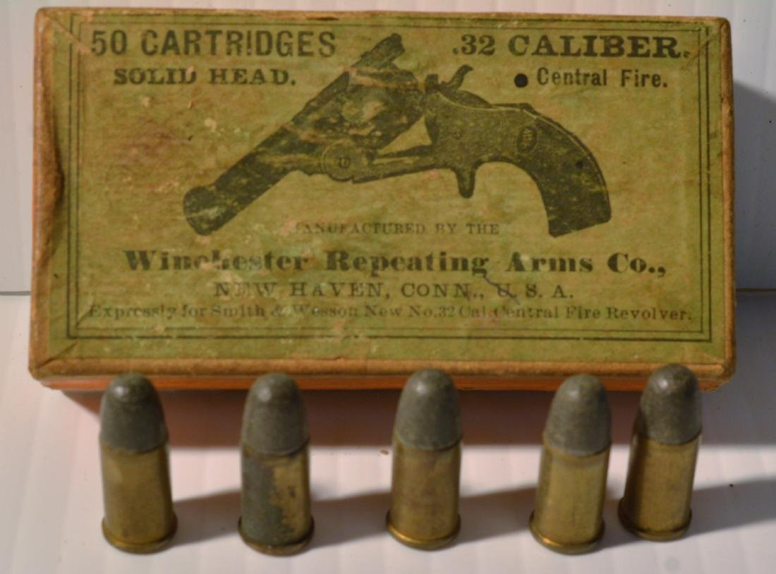 OLD WINCHESTER REPEATING ARMS .32 CALIBER BOX - 3