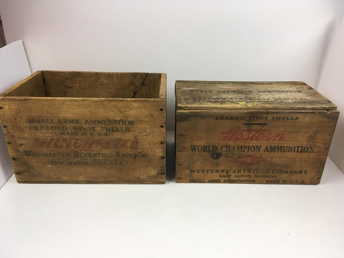 TWO WOODEN AMMO BOXES