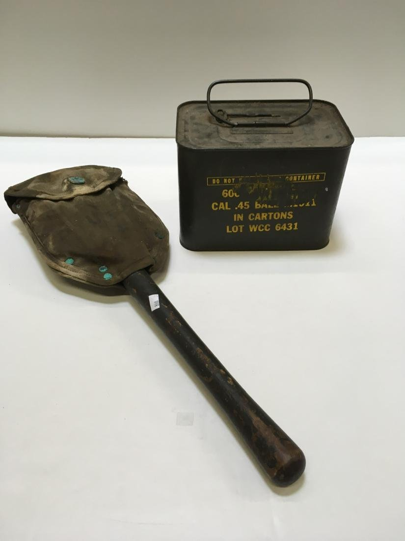 WWII ARMY SPADE & 600 RD WCC 45 BALL AMMO SPAM CAN