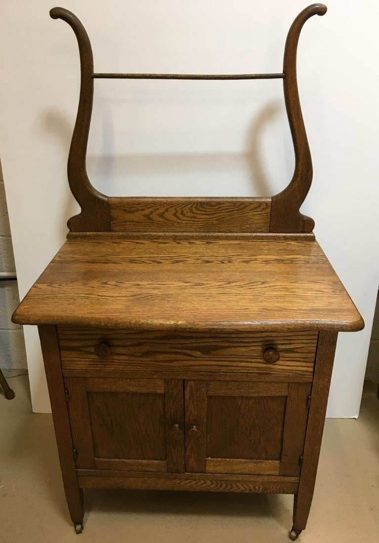 ANTIQUE OAK WASHSTAND WITH TOWEL BAR - 2