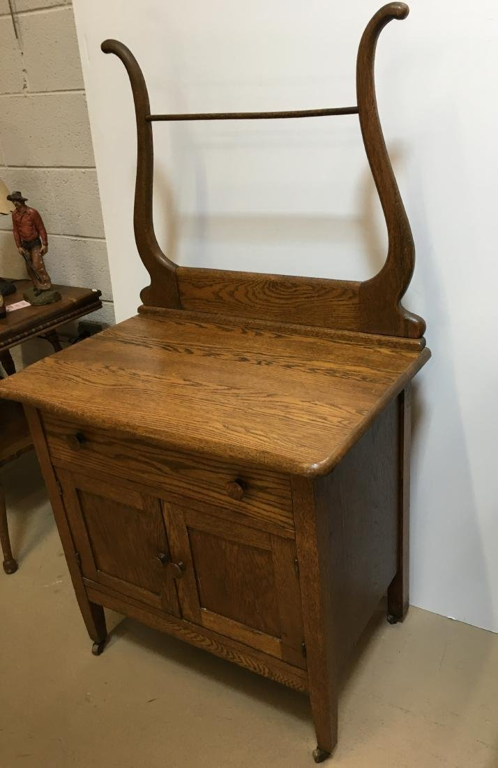 ANTIQUE OAK WASHSTAND WITH TOWEL BAR - 3