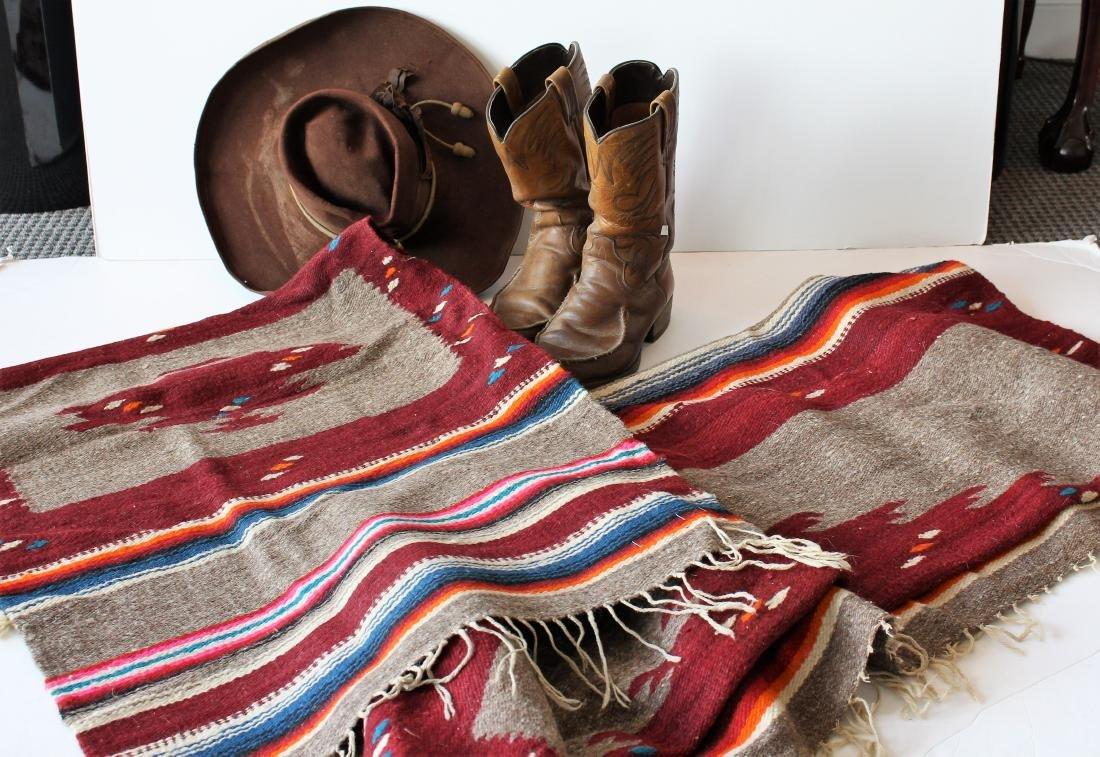 COWBOY HAT, DAN POST BOOTS, 2 BLANKET