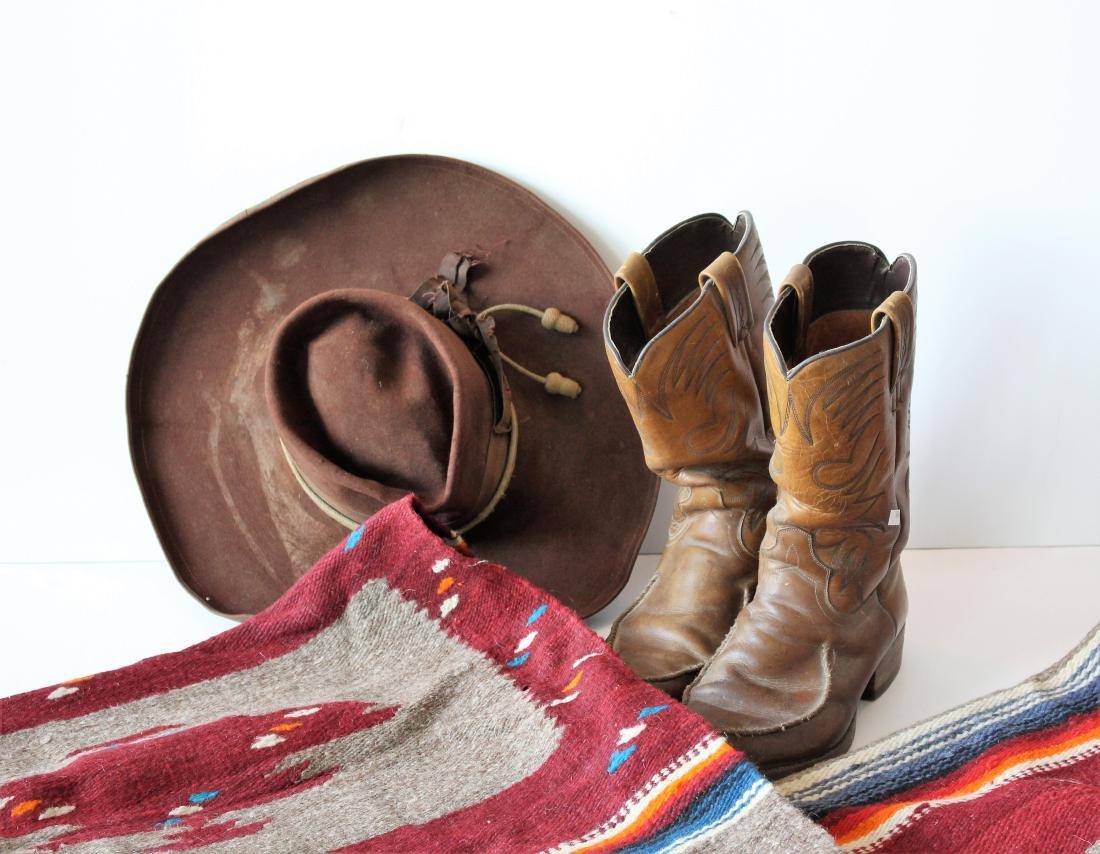 COWBOY HAT, DAN POST BOOTS, 2 BLANKET - 2