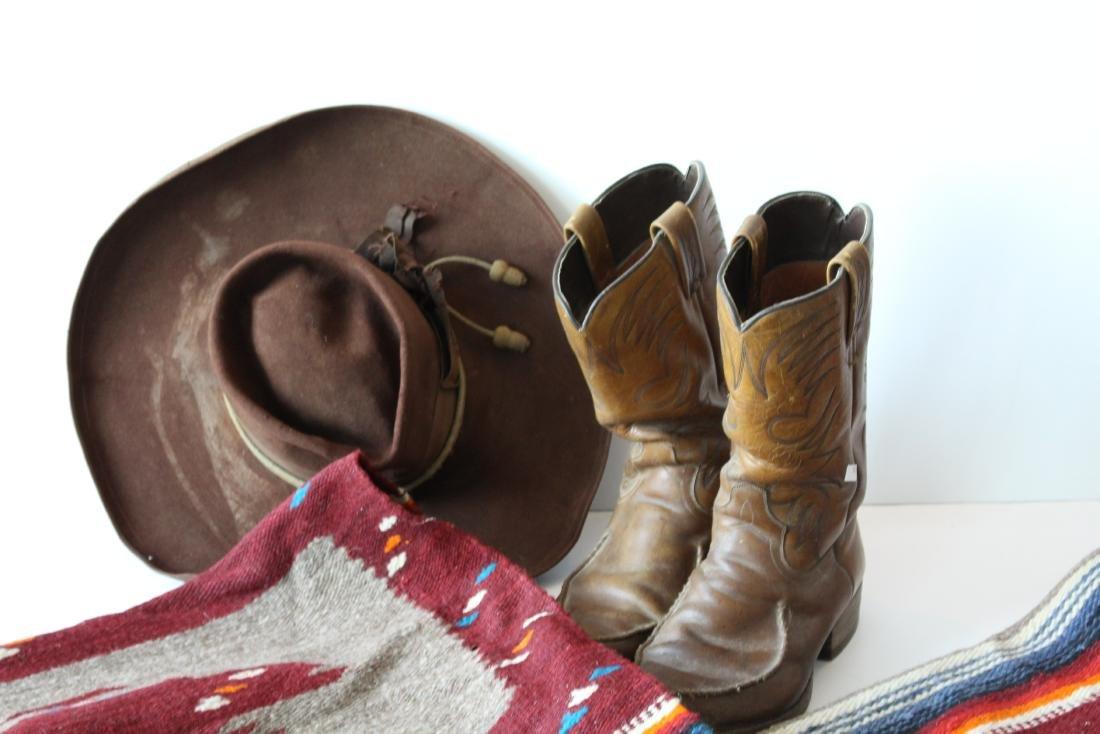 COWBOY HAT, DAN POST BOOTS, 2 BLANKET - 3
