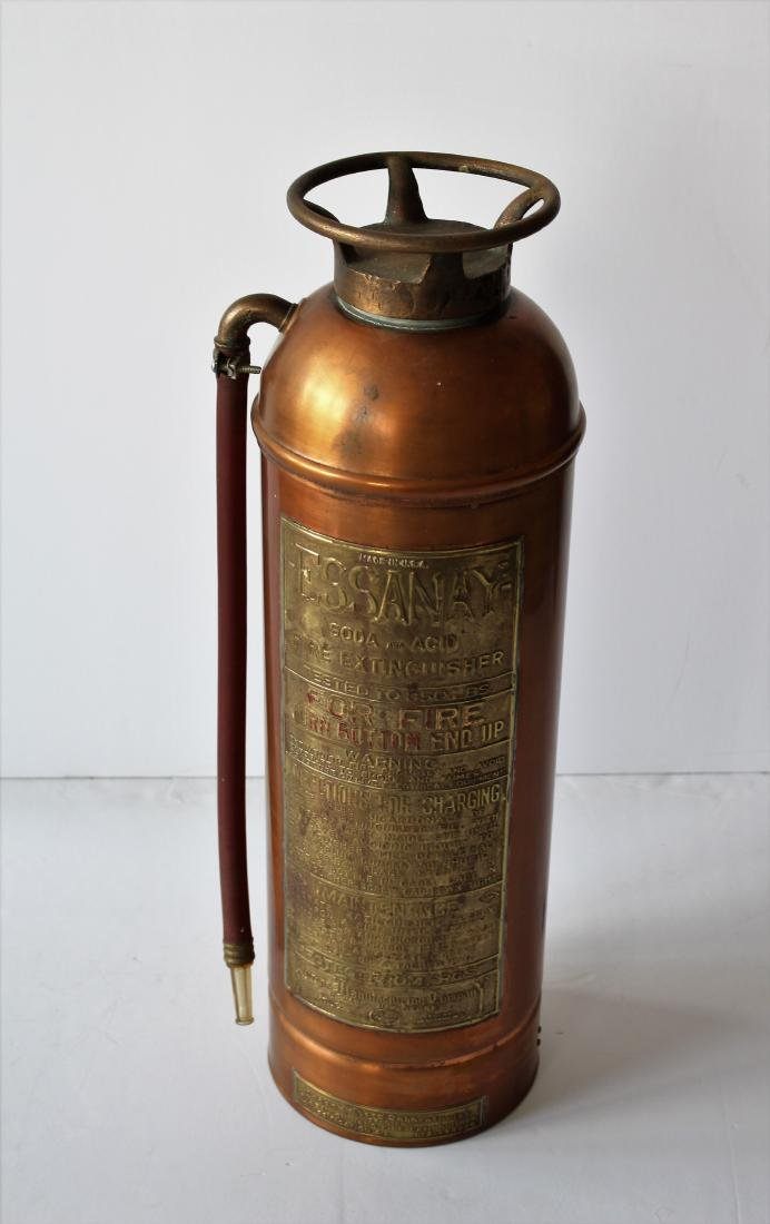 VINTAGE ESSANAY COPPER FIRE EXTINGUISHER