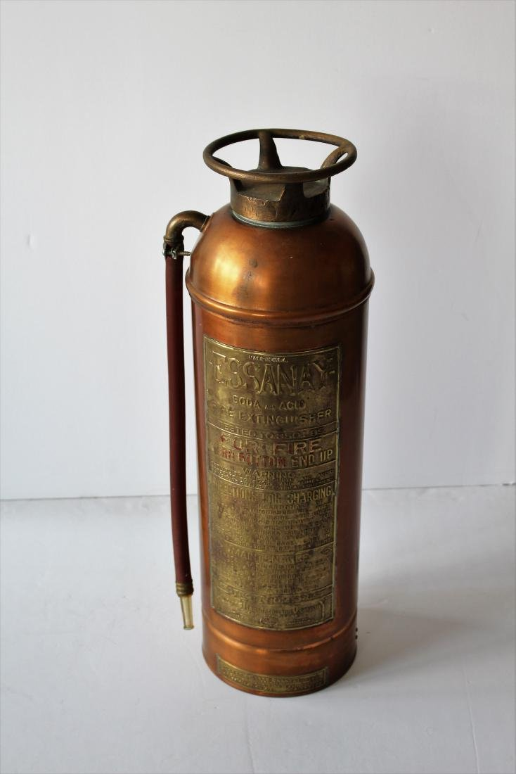 VINTAGE ESSANAY COPPER FIRE EXTINGUISHER - 2