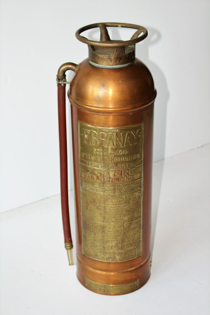 VINTAGE ESSANAY COPPER FIRE EXTINGUISHER - 4