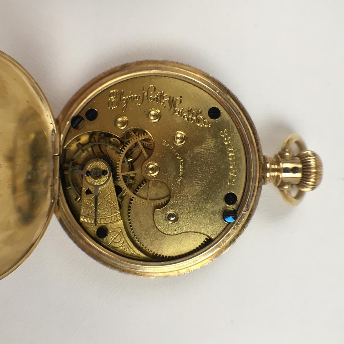 ANTIQUE 14K YELLOW GOLD ELGIN POCKET WATCH - 9
