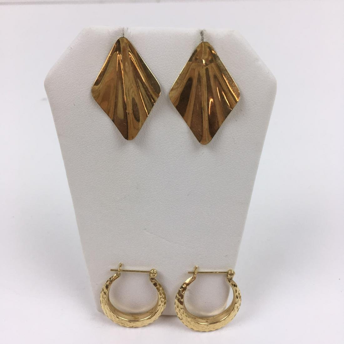 2 PRS OF 14K YELLOW GOLD EARRINGS