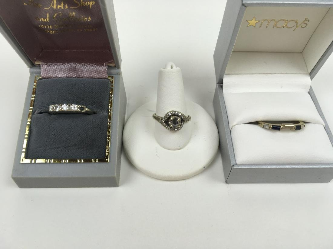 THREE 14K WHITE GOLD LADIES' RINGS