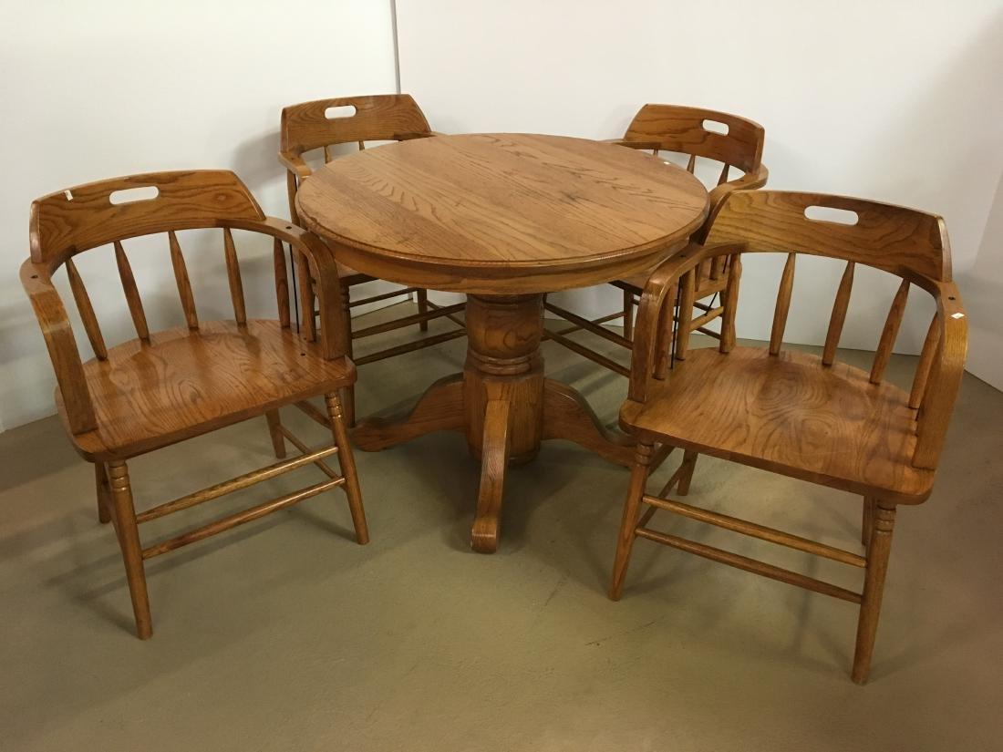 OAK TABLE WITH 4 BARREL BACK OAK CHAIRS