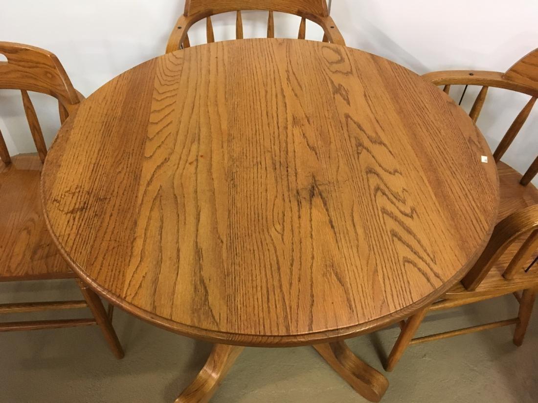 OAK TABLE WITH 4 BARREL BACK OAK CHAIRS - 5