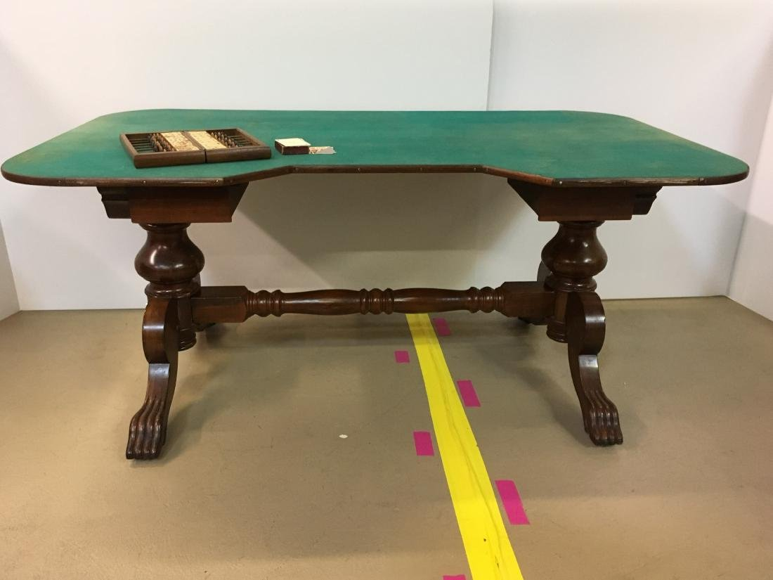 ANTIQUE FARO TABLE & CUE KEEPER