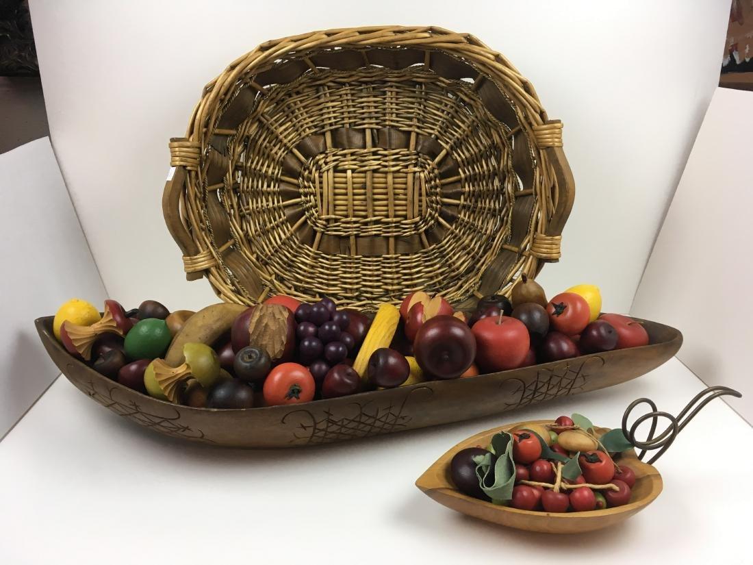 ASSORTED CARVED FRUIT WITH BOWLS & BASKET