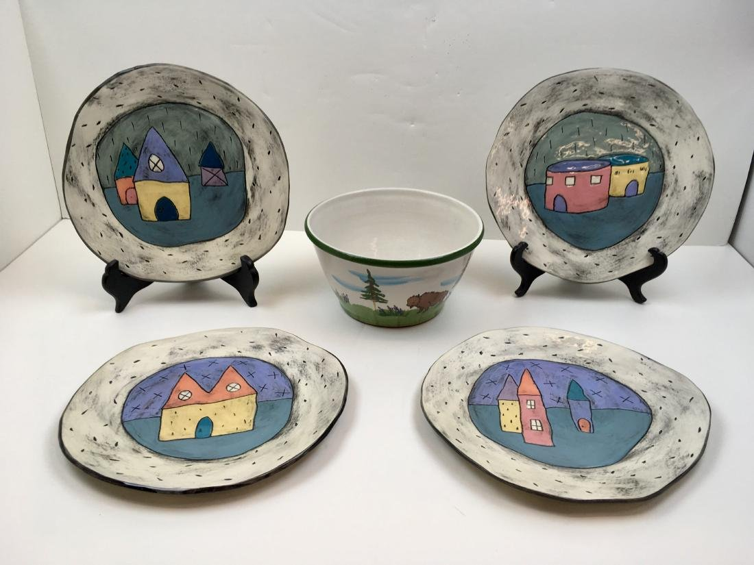 FIVE PCS OF ART POTTERY