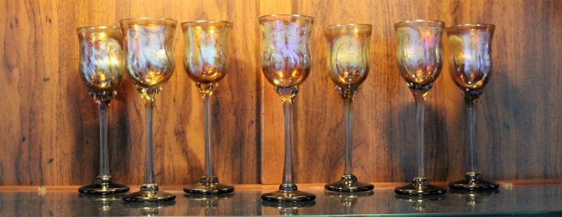 SEVEN HAND BLOWN ART GLASS STEMS