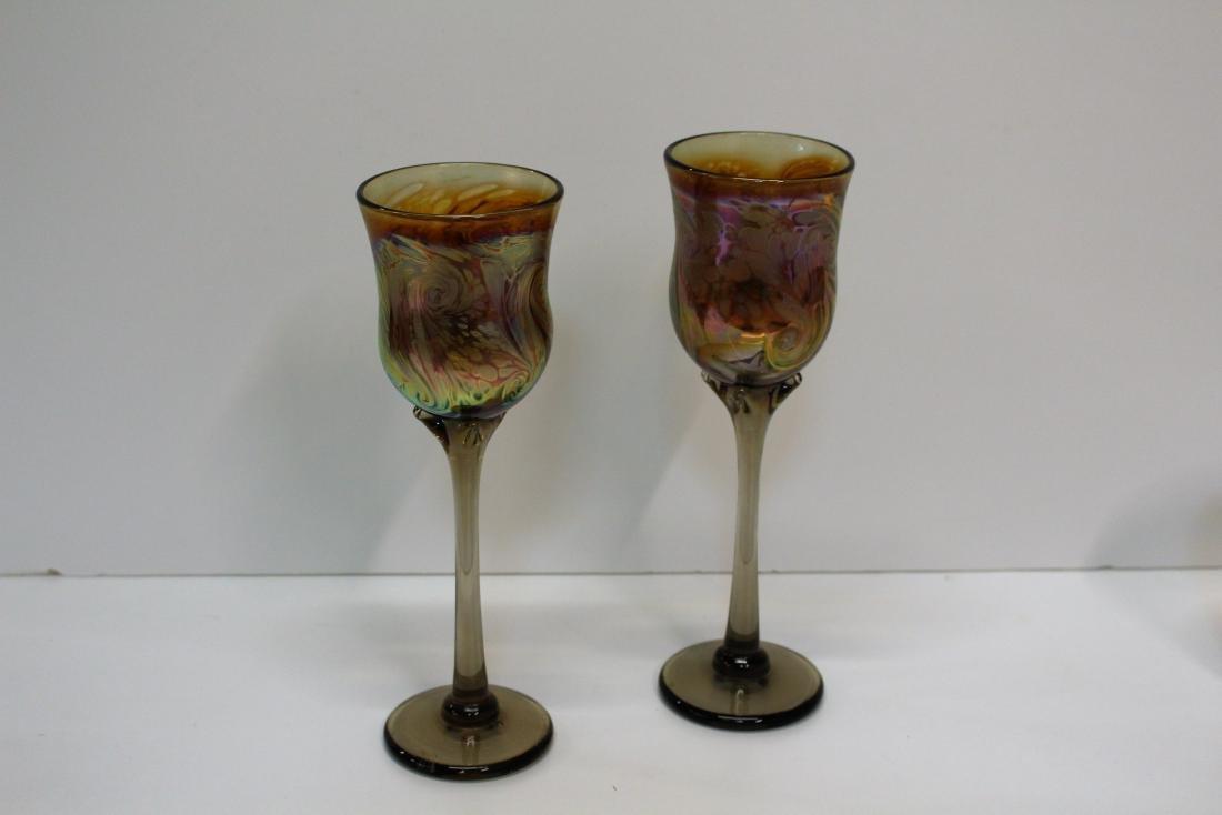 SEVEN HAND BLOWN ART GLASS STEMS - 2