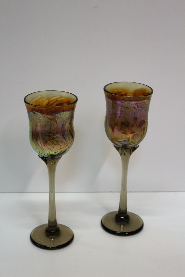 SEVEN HAND BLOWN ART GLASS STEMS - 3