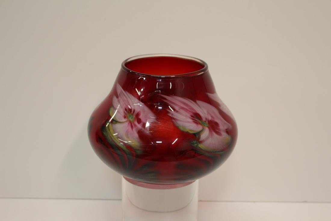 JOHN LOTTON ART GLASS VASE - 4