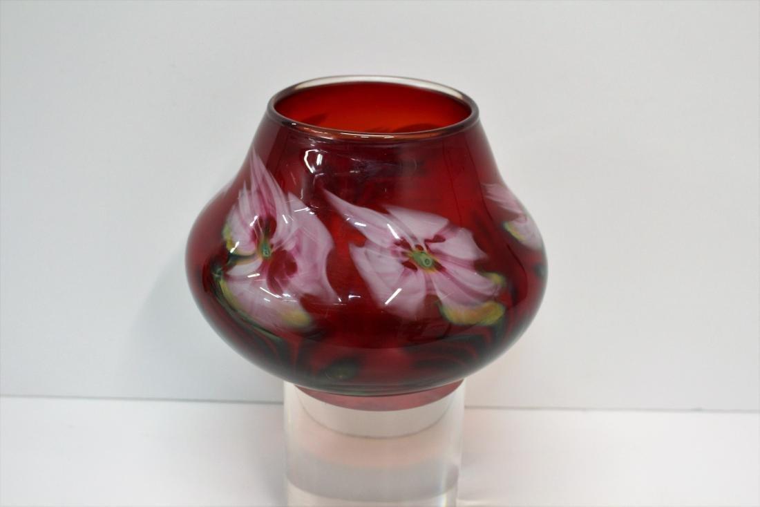 JOHN LOTTON ART GLASS VASE - 5