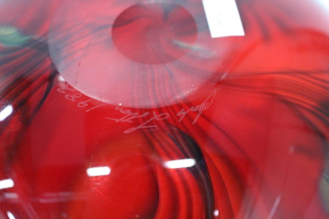 JOHN LOTTON ART GLASS VASE - 6