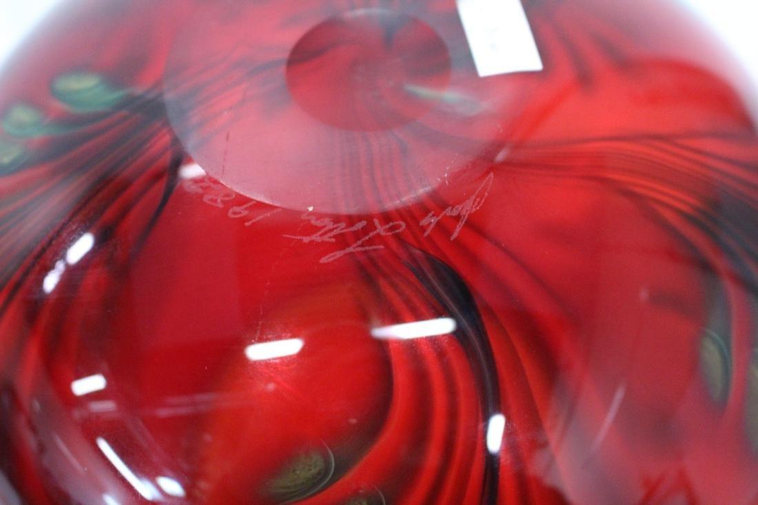 JOHN LOTTON ART GLASS VASE - 7