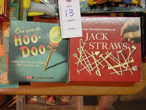 13: Parker Bros. Jack Straws and Vintage  Hoo-Doo Game