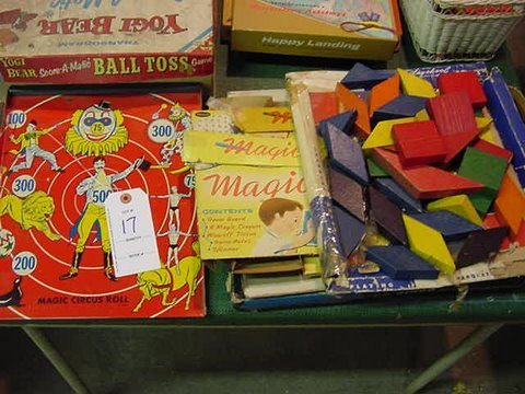 17: Mixed Block and Vintage tin Litho Target