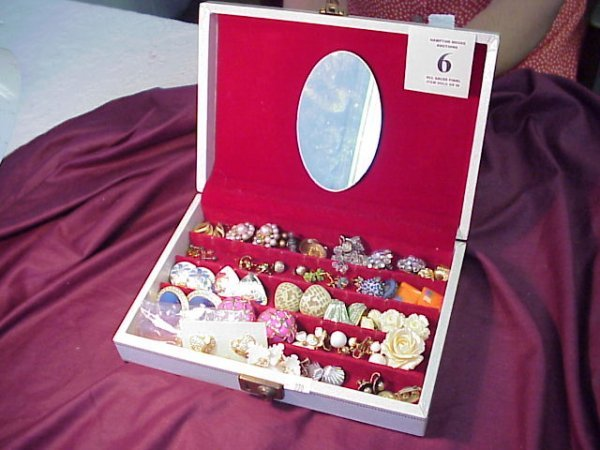 6J: Jewelry Box w/ 34 Pr. of earrings, and 2 pins