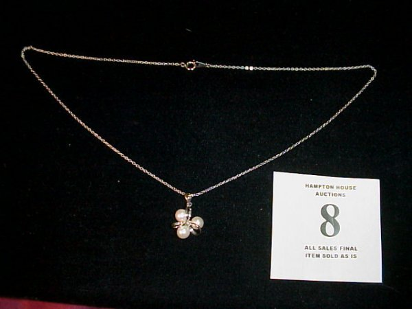 8J: Pearl Pendant on Sterling Silver Chain