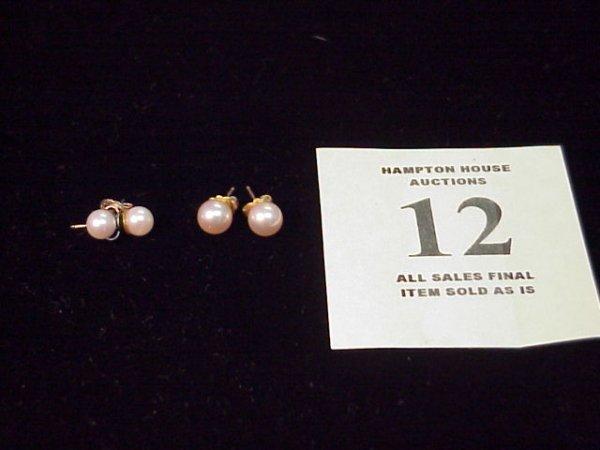 12J: 2 pr. Pearl stud earrings, 1pr. white gold, 1 pr.
