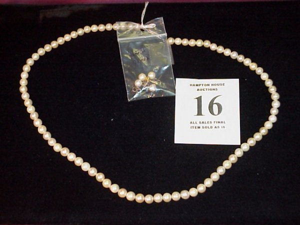 "16J: Pearl Necklace, 20"" length w/safety clasp and 2 pr"